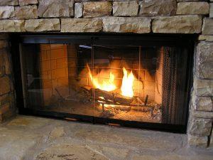 glass doors fireplace